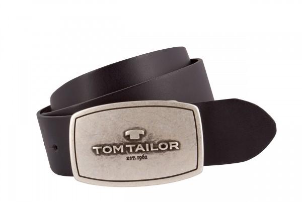 TOM TAILOR - TG1010R01 Gürtel Herren Leder Schwarz