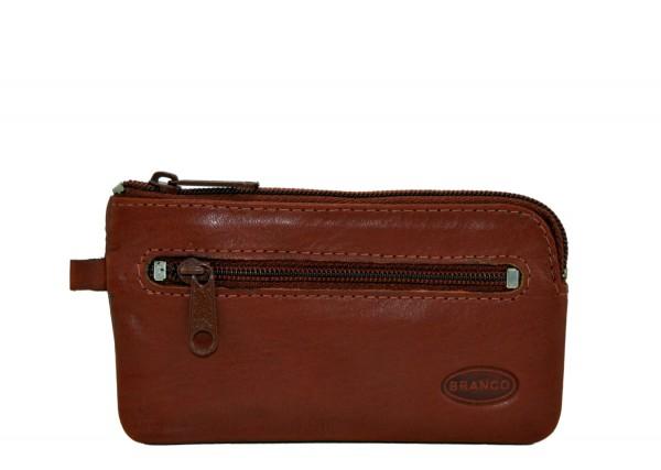 BRANCO - Schlüsseletui mit Zipperfach 018 Leder Braun