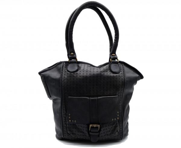 TASCHENDIEB WIEN TD0614A Shopper Leder Anthrazit - BAGS2enjoy