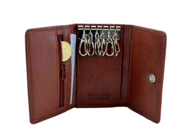 BRANCO - Schlüsseletui mit Kartenfächern 016 Leder Braun