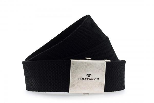 TOM TAILOR - TG1002B06 Gürtel Herren Stoff Schwarz