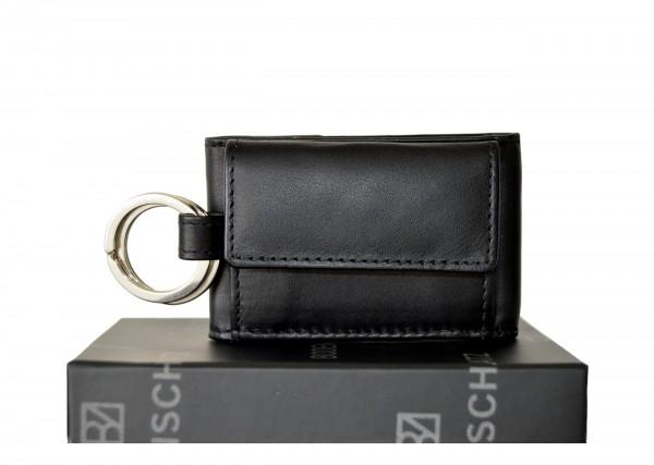 BODENSCHATZ - Schlüsselanhänger mit Mini Geldbörse BZ-1010 Leder Schwarz