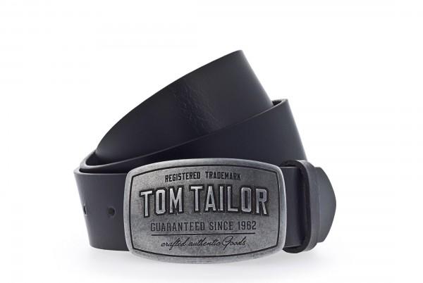 TOM TAILOR - TG1060R01 Gürtel Herren Leder Schwarz